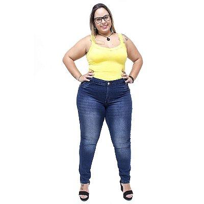 Calça Jeans Feminina Credencial Plus Size Skinny Roseleia Azul