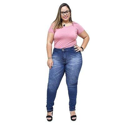 Calça Jeans Feminina Credencial Plus Size Skinny Cleidimara Azul