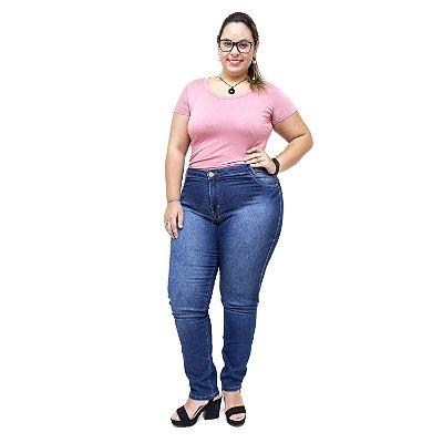 Calça Jeans Feminina Credencial Plus Size Skinny Lizolene Azul