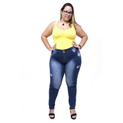 Calça Jeans Credencial Plus Size Skinny Rasgadinha Arabela Azul