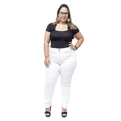 Calça Jeans Credencial Plus Size Skinny Hallesa Branca