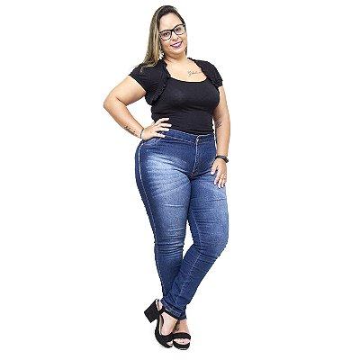 Calça Jeans Feminina Credencial Plus Size Skinny Gerineide Azul