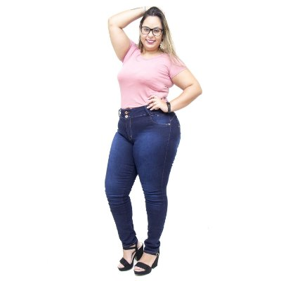 Calça Jeans Credencial Plus Size Skinny Edineuza Azul