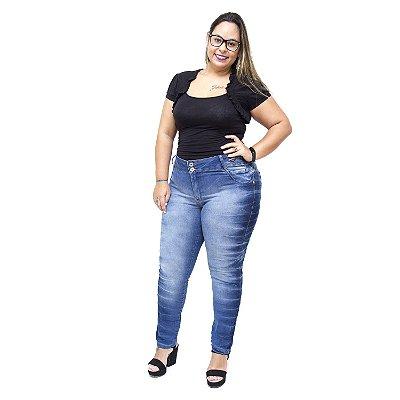 Calça Jeans Feminina Credencial Plus Size Cigarrete Regines Azul