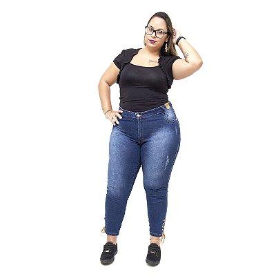 Calça Jeans Credencial Plus Size Cigarrete Giacoma Azul