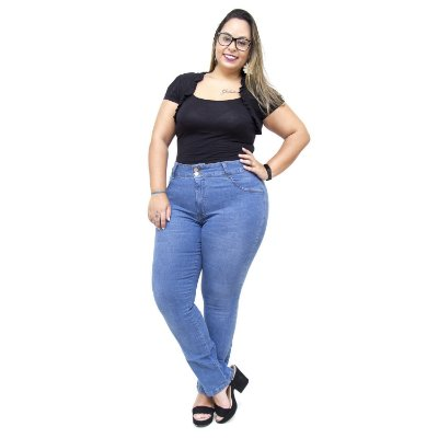 Calça Jeans Feminina Cambos Plus Size Cigarrete Josemar Azul