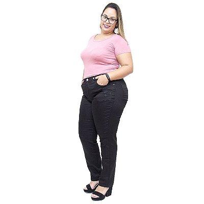 Calça Jeans Feminina Uvx Plus Size Cigarrete Tatiuci Preta