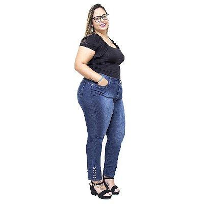 Calça Jeans Feminina Uvx Plus Size Cigarrete Allen Azul