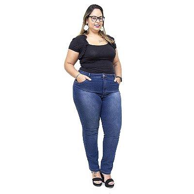 Calça Jeans Feminina Uvx Plus Size Cigarrete Sandrine Azul
