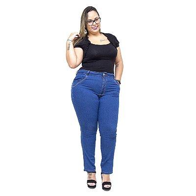 Calça Jeans Feminina Uvx Plus Size Cigarrete Naildes Azul