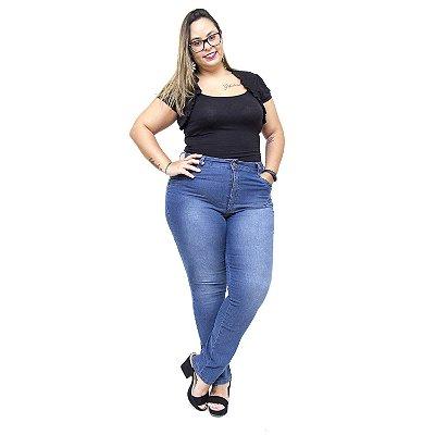 Calça Jeans Feminina Uvx Plus Size Cigarrete Lianne Azul