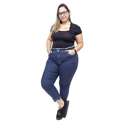 Calça Jeans Feminina Uvx Plus Size Cropped Ligianne Azul
