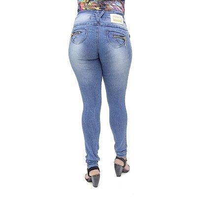 Calça Jeans Legging Feminina Deerf Azul com Elastano Levanta Bumbum