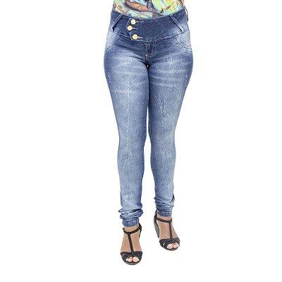 Calça Jeans Feminina Deerf Manchada Modelo Legging Levanta Bumbum