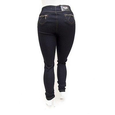 Calça Jeans Feminina Plus Size Cintura Alta Escura Credencial Levanta Bumbum
