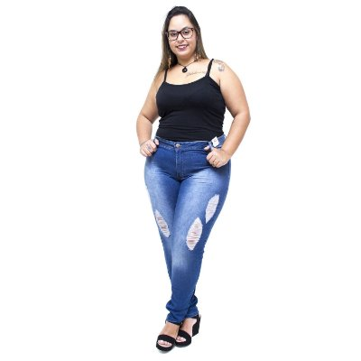 Calça Jeans Credencial Plus Size Skinny Aleska Azul