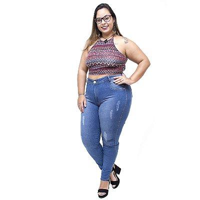 Calça Jeans Latitude Plus Size Skinny Jusaria Azul
