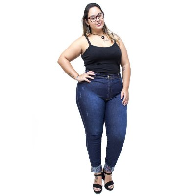 Calça Jeans Latitude Plus Size Skinny Nairany Azul