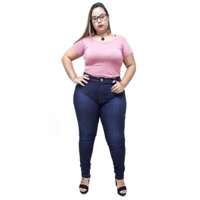 Calça Jeans Latitude Plus Size Skinny Almezina Azul