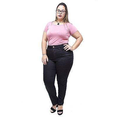 Calça Jeans Uvx Plus Size Cigarrete Iraide Preta