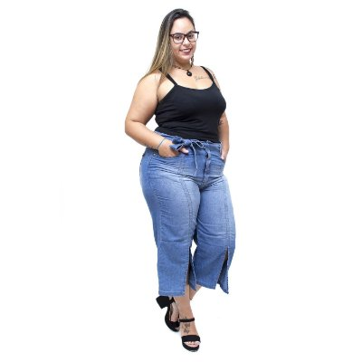 Calça Jeans Uvx Plus Size Pantacourt Catheryne Azul