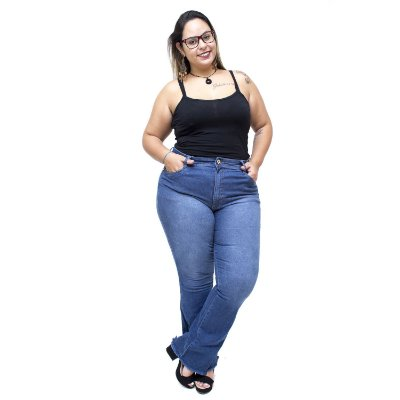 Calça Jeans Uvx Plus Size Flare Ivaldete Azul