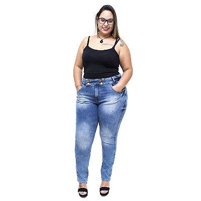 Calça Jeans Xtra Charmy Plus Size Cigarrete Aymar Azul