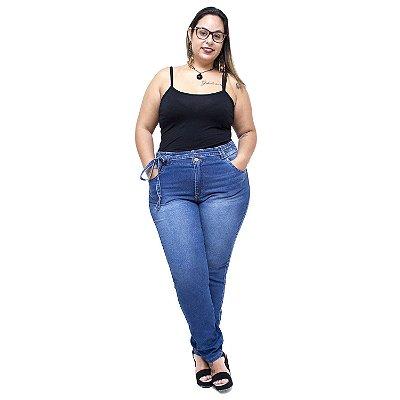 Calça Jeans Xtra Charmy Plus Size Cigarrete Weruska Azul