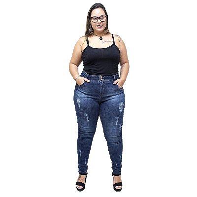 Calça Jeans Xtra Charmy Plus Size Cigarrete Meriana Azul