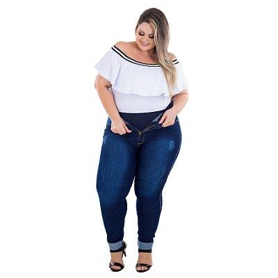 Calça Jeans Latitude Plus Size Skinny Moana Azul