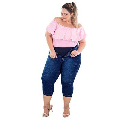 Calça Jeans Latitude Plus Size Cropped Joanine Azul