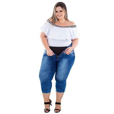 Calça Jeans Latitude Plus Size Cropped Deuseline Azul