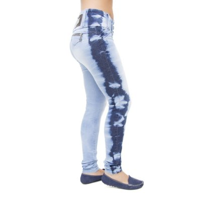 Calça Jeans Feminina Legging Credencial Manchada com Cintura Média