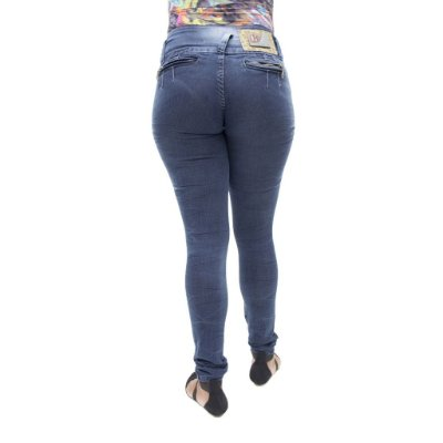 Calça Jeans Feminina Legging Helix Escura Levanta Bumbum