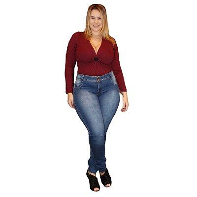 Calça Jeans Credencial Plus Size Skinny Aryeda Azul