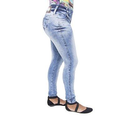 Calça Jeans Feminina Legging Deerf Marmorizada Levanta Bumbum