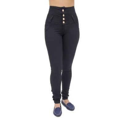 Calça Jeans Feminina Legging Corpete Deerf Preta Levanta Bumbum