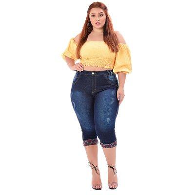 Calça Jeans Latitude Plus Size Cropped Eucenir Azul