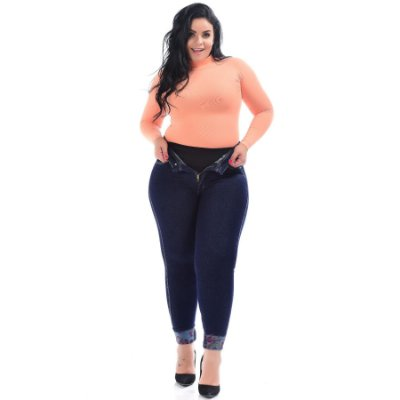 Calça Jeans Latitude Plus Size Skinny Rachele Azul