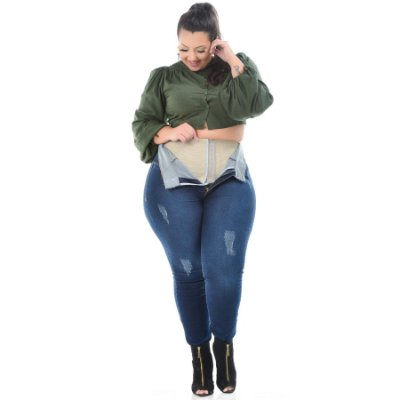 Calça Jeans Xtra Charmy Plus Size Skinny Ecila Azul