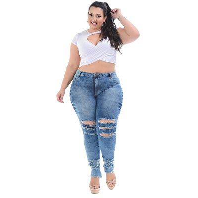 Calça Jeans Helix Plus Size Skinny Thiene Azul