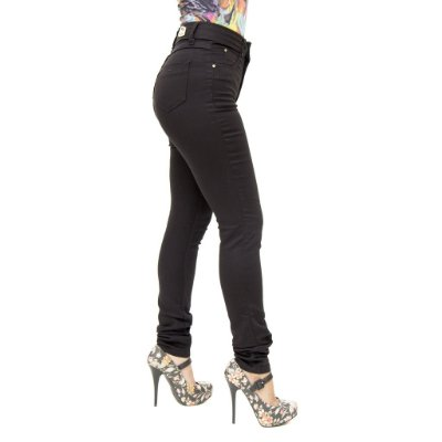 Calça Jeans Feminina Legging Credencial Hot Pants Cintura Alta Preta