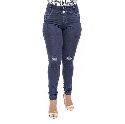 Calça Jeans Rasgadinha Feminina Escura Credencial
