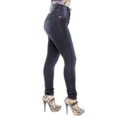 Calça Jeans Feminina Legging Escura Credencial Hot Pants Cintura Alta
