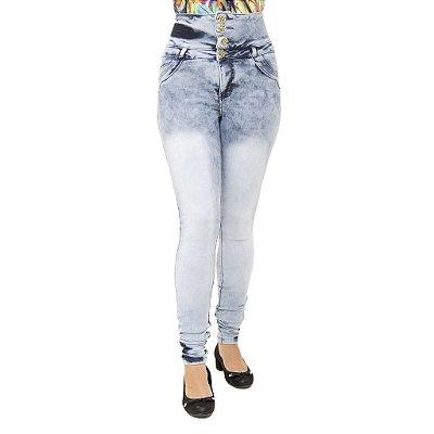 Calca Jeans Legging Feminina Cheris Modelo Corpete Marmorizada Cintura Alta