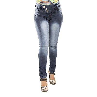 Calça Jeans Feminina Legging Helix Lavagem Escura Levanta Bumbum