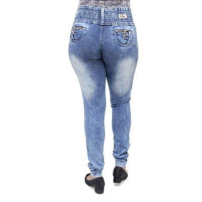 Calça Jeans Feminina Legging Credencial Marmorizada com Elástico
