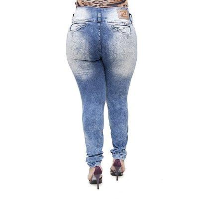 Calça Jeans Feminina Helix Legging Marmorizada Plus Size Cintura Alta