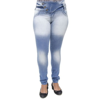 Calça Jeans Feminina Legging Thomix Manchada Levanta Bumbum