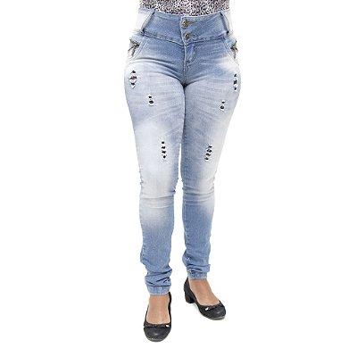 Calça Jeans Feminina Legging Bel Belita Rasgada Levanta Bumbum